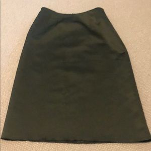 Hunter Green silk pencil skirt